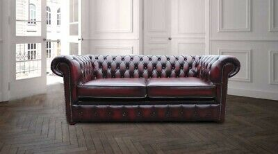 Chesterfield London English 2.5 Seater Antique Oxblood Leather Sofa Settee