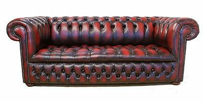 Chesterfield 3 Seater Buttoned Seat Antique Oxblood Leather Sofa Settee DBB