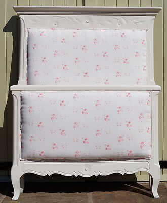 French Antique Single Bed upholstered in Cabbages and Roses