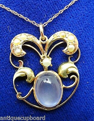 10K Victorian Moonstone Lavaliere Pendant With Pearls (#3158)