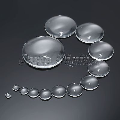 6-50mm Clear Round Glass Dome Flat Back Cabochon Scrapbooking Fit Cameo Settings