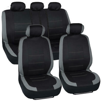 Gray Stitched Car Seat Covers - Grey Accent on Black Flat Cloth 9pc Front Rear
