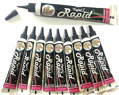 10  X RAPID FAST BLACK Henna Mehendi Paste Cones Tubes Temporary Tattoo Kit UK