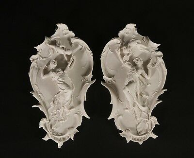 Meissen Carrara Marble Wall Plaques (Pair) Sculpture Home Decor, Made in UK.