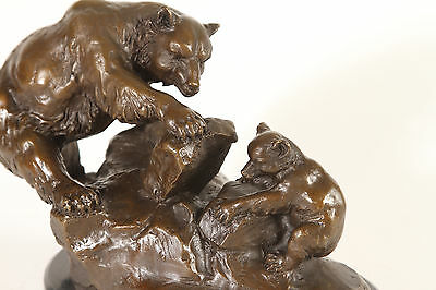 Beautiful Mother Grizzly Bear and Cub Genuine Bronze Sculpture.