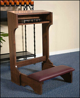 "Hardwood Padded Prayer Kneeler - Size: 20"" W x 32"" H - Rich Dark Walnut Color"