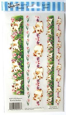Bunny Backgrouds E-Z Rub-On Transfers Sheet (Decals) Rabbits Borders ~ New