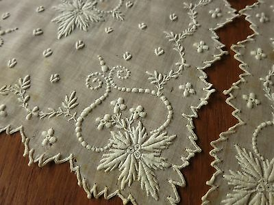 FINE Antique 19thC FRENCH WHITEWORK EMBROIDERY Lappet Scarf Stole 9x68 ELABORATE