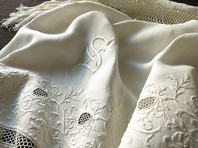"FABULOUS Antique 19thC Linen XL SHOW TOWEL Monogram ""S"" Embroidery Fringed 28x64"