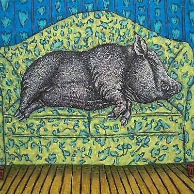 REclining nude Potbelly Pig art tile coaster gift