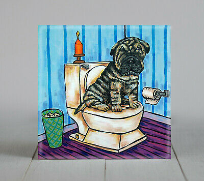 shar pei dog art tile coaster gift JSCHMETZ in the bathroom