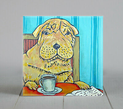 shar pei coffee art tile coaster gift JSCHMETZ