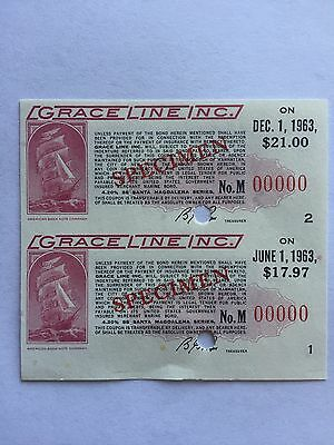 1960 Grace Lines Inc. $21 Bond Coupons Scrip Block of 2 Rare Tall Ship Vignette!