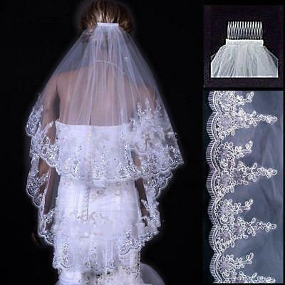 2016 New White or Ivory Wedding Bridal veil Sequins Length Lace Edge with comb