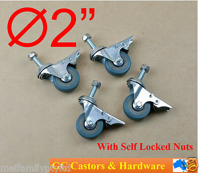 4x2''Grey Rubber Castor,Bolt,Swivel with Brake Caster,Stainless Steel Nyloc Nuts