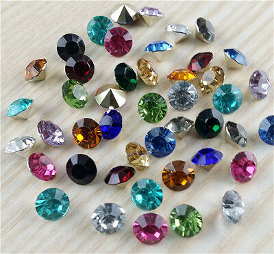 High quality 100pcs 6mm Mix Crystal beads Point back Rhinestones Resin Chatons