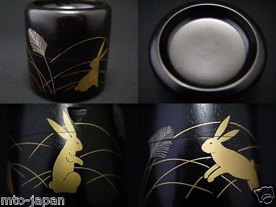Japanese Lacquer Wooden Tea Caddy HARE makie MILLSTONE SHAPED Natsume (0105-16)