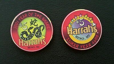 1997 harrahs reno chinese new year of the ox $5 casino chip unc