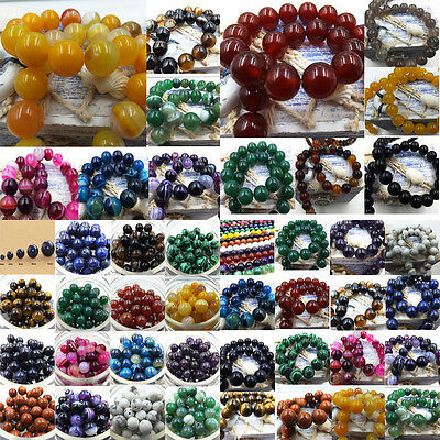 Natural Gemstone Round Spacer Loose Beads 4mm6mm 8mm 10mm 12mm Agate Stone whsle