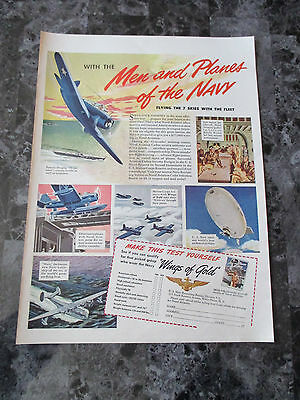 "Vintage 1942 US Navy Wings of Gold Aviation Print Ad, 13.75"" X 10.125"""