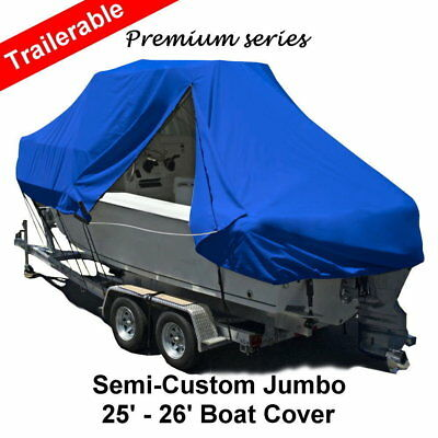 New Design with Zipper 600D 7.6-7.9m 25-26ft T-Top Jumbo Boat Cover Blue