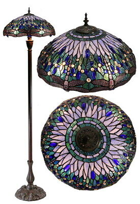 "Large 18"" Blue and Red Dragonfly Leadlight Stained Glass Tiffany  Floor Lamp"
