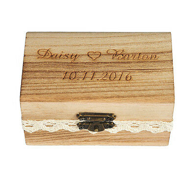 Personalized Engraved Wedding Rustic Bearer Box Wooden Customized Ring Box