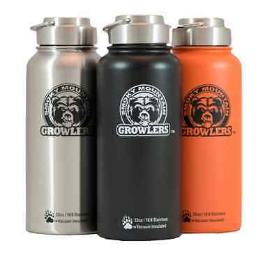 32 oz Insulated Stainless Steel Water Bottle and Beer Growler - NO PLASTIC