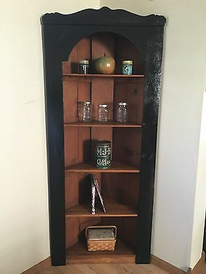 Antique Corner Cabinet, Curio Cabinet, Wood Shelf, Cup Board