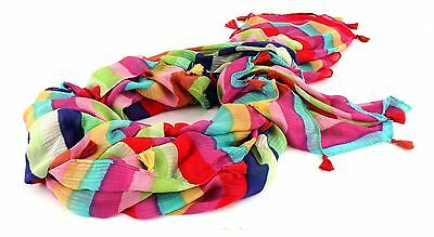 SCOTCH & SODA Lightweight Scarf in Prints & Solids with Tassles Schal Bunt Z Neu