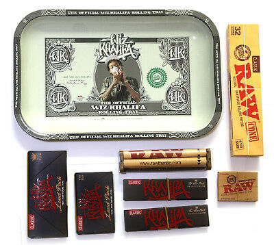 RAW WIZ KHALIFA Rolling TRAY Set + LOUD PACK + Roller + Papers + Tips + 32 Cones