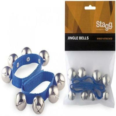 Pack Of 2 Stagg Wrist Jingle Bells Blue () Musical Instruments Set Of Two Wrist