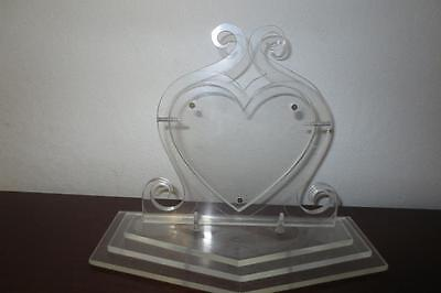 Mid Century Unique Art Deco Thick Lucite Swivel Heart Picture Frame Valentines