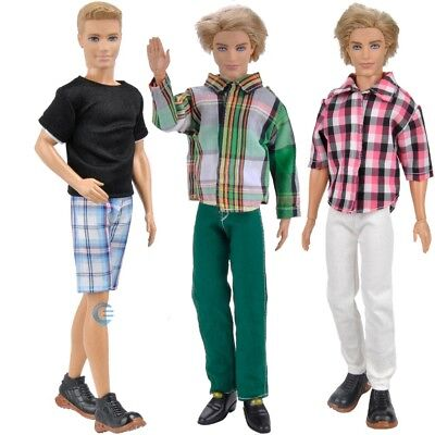 3 Sets Fashion Doll Clothes Casual Wear Jackets Pants Outfit For Barbie Ken A