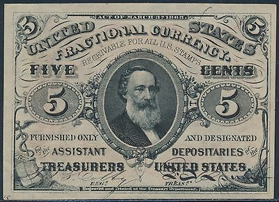 Fr1236 5¢ 3Rd Issue Fractional Currency Red Reverse Choice Gem Unc Bs9178