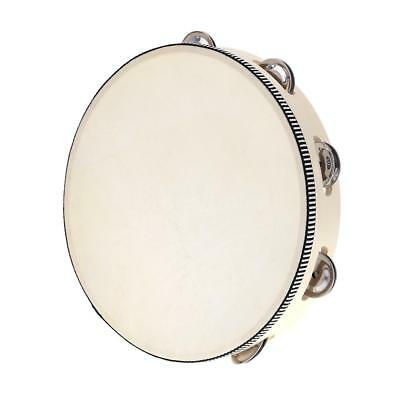 """10"""" Hand Held Tambourine Drum Bell Birch Metal Jingles Percussion Toy Tool M8O9"""
