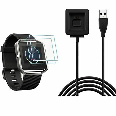 Fitbit Blaze Replacement USB Charging Cable with 2 Packs Screen Protector