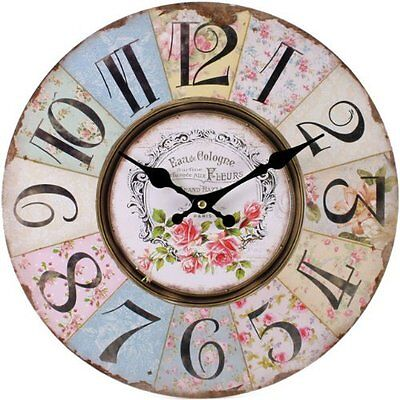 Floral Wall Clock Vintage Shabby Chic Pastel Paris French Style Home Household