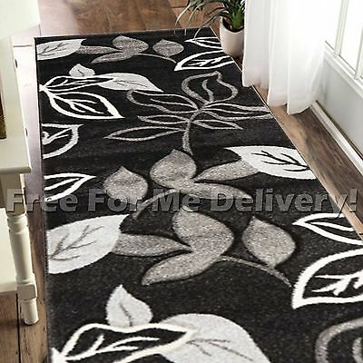 LUCIA LEAVES BLACK TAUPE MODERN TRENDY FLOOR RUG RUNNER 80x400cm **FREE DELIVERY