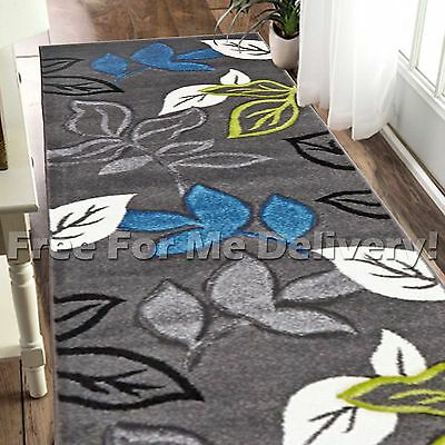 LUCIA LEAVES GREY BLUE GREEN MODERN FLOOR RUG RUNNER 80x400cm **FREE DELIVERY**