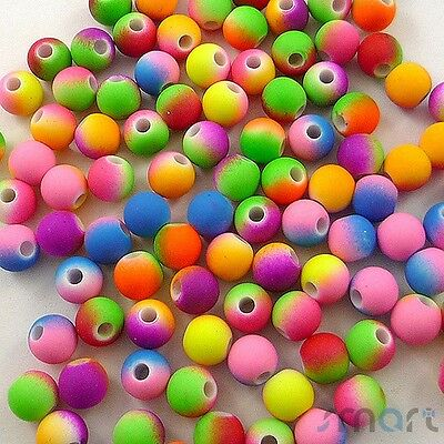 100pcs Assorted Round Neon Color Plastic Beads Lot Craft/Kids Jewelry Making