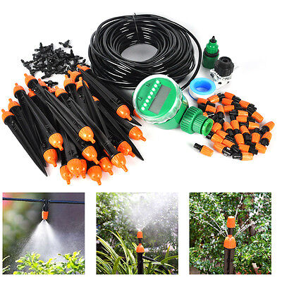 DIY Watering Irrigation System Auto/Manual Water Timer Dripping Spray Sprinkler