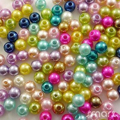100pcs Mixed Pastel Colours Glass Pearl Round Beads Jewelry Making Craft 2 Sizes