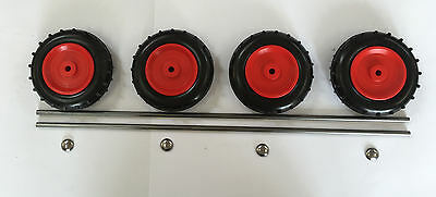 "4 x 100mm (4"") Red Plastic Wheels With 2 Axles & 4 Spring Caps"