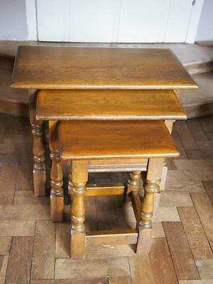 A Beautiful Nest of Three Vintage Great Quality Old Charm Wood Brothers Tables
