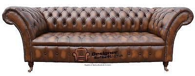 Chesterfield Balmoral 3 Seater Buttoned Seat Antique Tan Sofa Settee