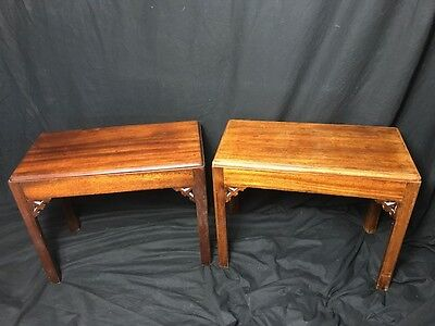 Fine Museum Pair Small Antique Chinese Mahogany Chippendale Style Side Tables