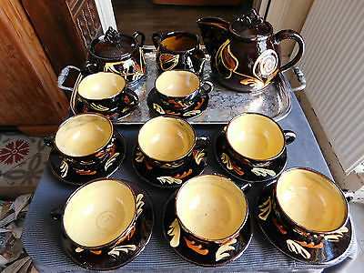 Service A  The Cafe Pour 8 Faience Vernissee Signee Decor Floral