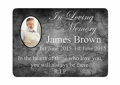 MEMORIAL PLAQUE 8 PHOTO Metal Aluminium Sign Plaques Custom Personalised Funeral