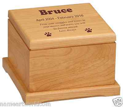 Pet urns  -Hand Crafted - 5 x 5 x 3.25  Red Alder wood Pet Urn - FREE ENGRAVING